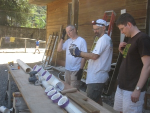 Rick, Wade and Jon contemplate the plumbing design
