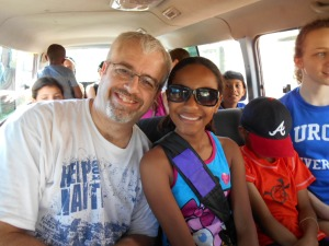 Dan and Destiny enjoying time on the ride to the beach.