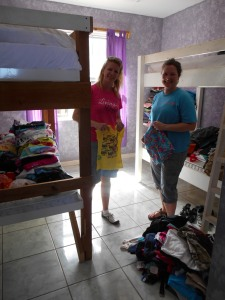 Jill and Sharon sorting donations for the Oak Ridge Community day.