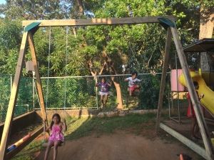 Kids are already enjoying the swing set.