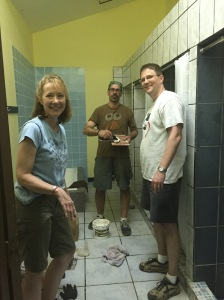 Working on the showers in the dormitory.
