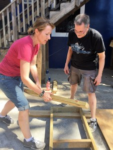Lisa and Gary building a table.